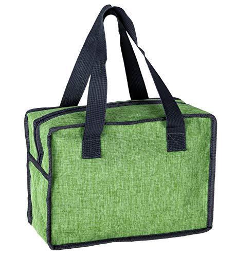 Idena Unisex– Erwachsene Kühltasche mit 8 Liter Fassungsvermögen, ca. 30 x 14 x 22 cm, mit Zwei Tragegriffen und Reißverschluss, ideal für Picknick, Urlaub und Camping, grün
