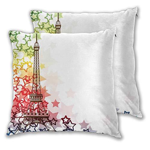 DAOPUDA Funda de Cojín Suave,Imagen Colorida Torre Eiffel con Estrellas Amor Romance Ciudad Internacional,Funda de Almohada Cuadrado para Sofá Cama Decoración para Hogar 55x55cm,Set de 2