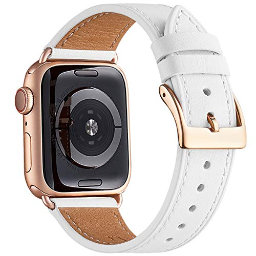 WFEAGL Strap Compatible for Watch 38mm 40mm 42mm 44mm Strap,Top Grain Leather Band Replacement Strap with Stainless Steel Clasp for Watch Series 5/4/3/2/1,(38mm 40mm,White Band+RoseGold Square Buckle)