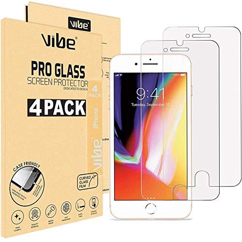VIBE [4 Stück] Panzerglas Schutzfolie für iPhone 8 Plus, iPhone 7 Plus [5,5 Zoll Folie], Japanische 9H Härte, Anti-Kratzer, Anti-Öl, Anti-Bläschen Panzerglasfolie