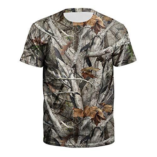 XIAOBAOZITXU Digital Bedrucktes 3D-T-Shirt Kurze Ärmel Rundhalsausschnitt Altes Baummuster Sommerkleidung Für Männer Und Frauen Lose Modische Größe T-Shirt XL