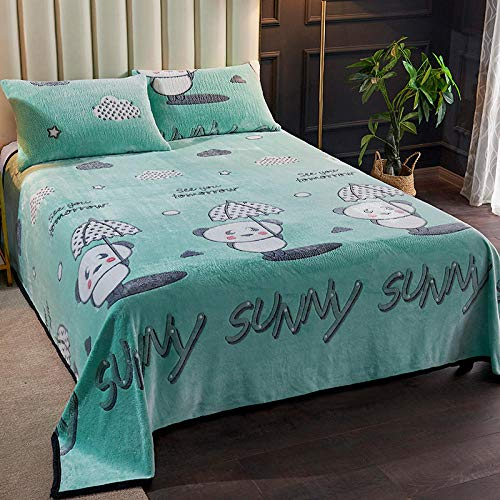 Manta de piel sintética,Manta de cama sábanas de lana de coral edredón cálido y grueso franela de invierno manta cama dormitorio de estudiantes más terciopelo-180cmX200cm_Hermoso estado de ánimo,