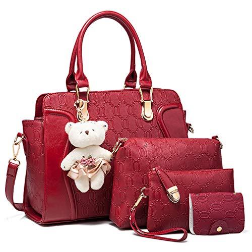 Pahajim Bolsos de Mujer 4 Piezas Bolso Totes Grande de Hombro Satchel Bolsos PU Bolso Señoras Shopper Purse Set(Rojo)