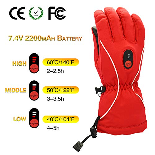 Smilodon 7.4V Heated Gloves for Men Women, Heated Ski Gloves, with Rechargeable Battery Electric Heating Gloves (Red, XXL)