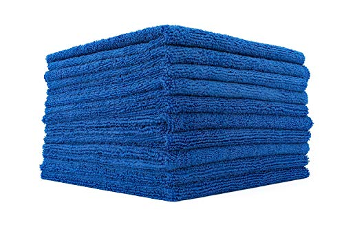 (10-Pack) THE RAG COMPANY 16 in. x 16 in. Professional EDGELESS 365 GSM Premium 70/30 Blend Microfiber POLISHING, WAX REMOVAL and AUTO DETAILING Towels (16x16, Royal Blue)