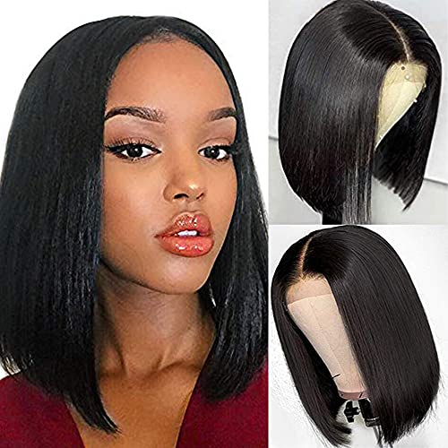 TNICE Bob Wigs Lace Front Human Hair Wig 4x4x1 Lace Front Wigs Brazilian Straight Bob Wig T Part Human Hair Bob Lace Front Wigs 150% Density Short Bob Wigs for Black Women (10inch)