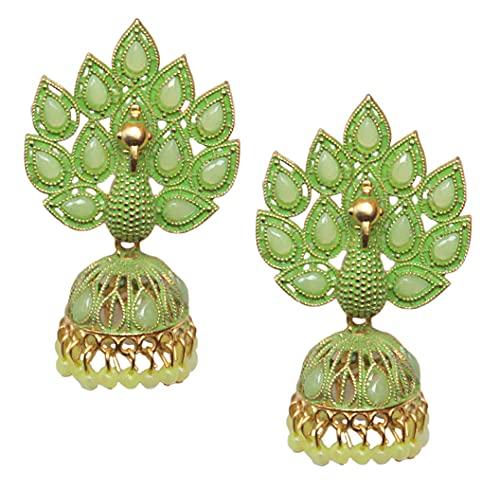 Pahal Traditional Jaipur Green Pearl Kundan Painted Big Gold Jhumka Earrings Peacock Indian Bollywood Bridal Wear Jewelry for Women