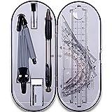 PPX - Juego de 8 piezas de geometría de mate, caja inastillable, reglas, protractor, brújula, lápiz, goma de borrar para suministros de estudiante (8 unidades)