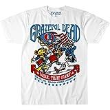 Liquid Blue unisex adult Grateful Dead 4th of July Wave That Flag 1987 T-shirt T Shirt, White, Large US