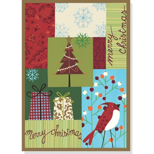 Download Merry Christmas Patchwork Large Boxed Holiday Cards 1593597983