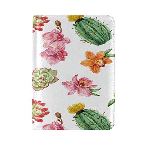 UAS Reisepasshülle für Pflanzenkaktus, echtes Leder, Cactus Succulent Flower (Mehrfarbig) - FengYe_003