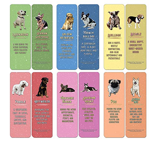Creanoso Dog Breeds and Characteristics Bookmarks (60-Pack) - Premium Quality Gift Ideas for Children, Teens, & Adults for All Occasions - Stocking Stuffers Party Favor & Giveaways