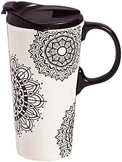 Mandala Mania 17 OZ Ceramic Travel Cup - 4 x 5 x 7 Inches