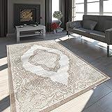 Paco Home Tapis Oriental Moderne Effet 3D Chiné Scintillant Ornements Gris Doré, Dimension:120x170 cm