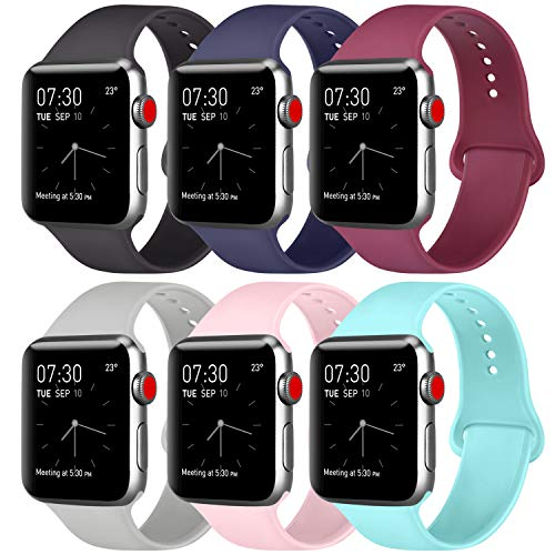 ATUP Compatible with for Apple Watch Band 38mm 40mm 42mm 44mm Women Men, Soft Silicone Replacement Bands Strap for iWatch Apple Watch Series 5, Series 4, Series 3, Series 2, Series 1 (#A, 6 Pack, 38mm/40mm-M/L)