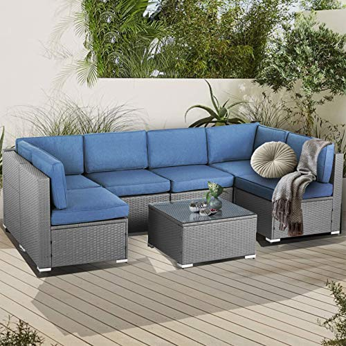 SUNCROWN Outdoor Patio Furniture 7-Piece Sofa Set Grey Wicker, Washable Seat Cushions with YKK Zippers and Modern Glass Coffee Table (Denim Blue Cushion)
