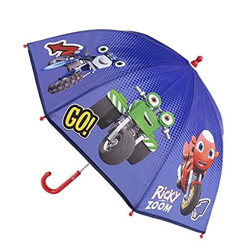 CERDÁ LIFE'S LITTLE MOMENTS- Paraguas Manual Infantil de Ricky Zoom - Licencia Oficial Disney, Color Azul Oscuro (2400000610)