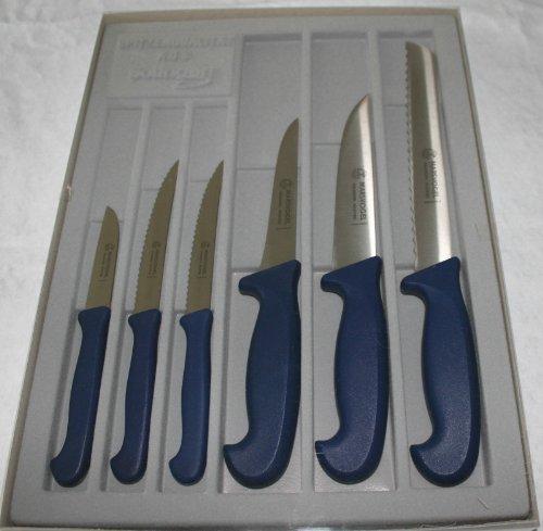 Messer Set 6-tlg. Brotmesser Küchenmesser Steakmesser Marsvogel Solingen Kunststoffgriff blau
