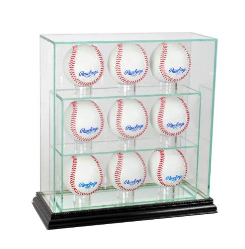 MLB 9 Upright Baseball Glass Display Case, Black