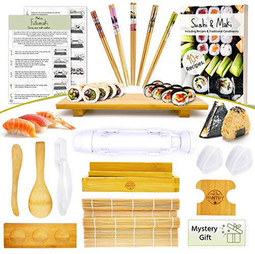 Sushi Making Kit  Make Every Type of Sushi with Rolling Mats Maki Onigiri Nigiri Molds aswell as an Center Sushi Plate for the whole Family to Sit Around