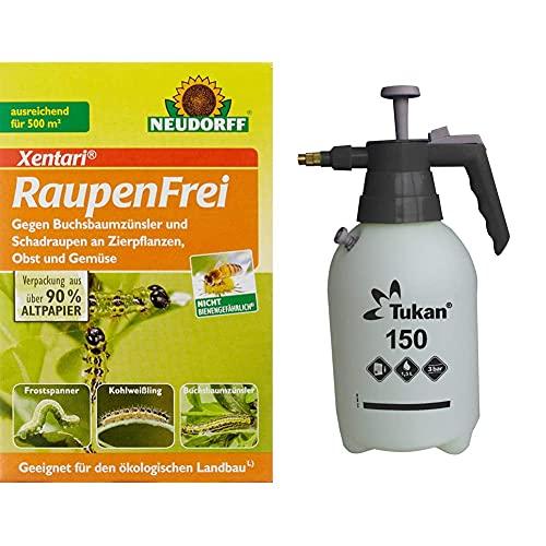 Neudorff Raupenfrei Xentari 25g gegen Buchsbaumzünsler an Buchsbäumen & TUKAN Drucksprüher, 1,5L, inkl. Messingdüse und Überdruckventil