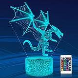 Continuar 3D Espejismo Lámpara,Attivolife Luz de noche con Mando a distancia + Temporizador 16 cambio de color Lámparas Niños Animal Habitación Decoración Cumpleaños Regalos por Niños Hombres Niño