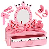 Tomons Wooden Pretend Play Kids Vanity Table, Beautiful Vanity Salon Activity Playset with Big Mirror and Makeup Accesories for Girls