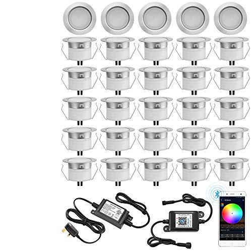 RGB-Terrassenlichter-Set, GEYUEYA Home Ø 45 mm, 12 V, 0,5 W, Bluetooth-LED-Beleuchtung für Treppen, Terrasse, Boden, Pool, Deck, Küche, Außenbereich, LED-Landschaftsbeleuchtung – 30 Stück