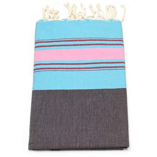 ANNA ANIQ Hamamtuch Fouta Strandtuch Sauna-Tuch - XXL Extra Groß 197 x 100cm - 100% Baumwolle aus Tunesien, orientalisches Bade-Tuch, Yoga, Pestemal, Strand-Handtuch (Blau-Rosa)