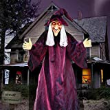 """AYOGU1 71"""" Hanging Talking Witch, Animated Witch Indoor Outdoor Halloween Decoration, Large Life-Size Halloween Decor Prop"""