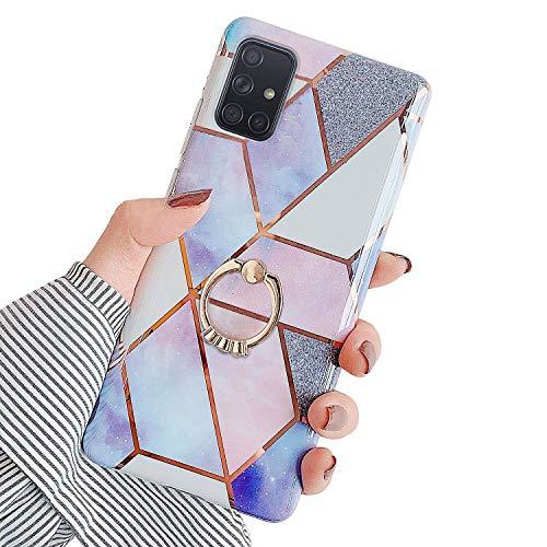 Herbests Kompatibel mit Samsung Galaxy A71 Hülle Bunt Marmor Muster TPU Silikon Handyhülle Glänzend Bling Glitzer Diamant Strass Ring Halter Ständer Crystal Case Tasche Schutzhülle,Lila