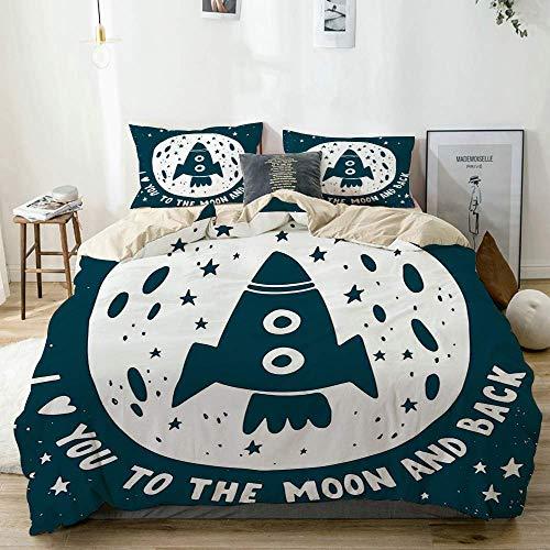 Juego de funda nórdica beige, te amo a la luna y al fondo, eslogan del día de San Valentín, nave espacial, estrellas, fondo, juego de cama decorativo de 3 piezas con 2 fundas de almohada, fácil cuidad