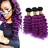 1B Purple Ombre Brazilian Hair Bundles Deep Wave Curly Human Hair Extensions Dark Roots Purple Violet Ombre Virgin Hair Weaves 100g/Bundles 300g/Lot (10 12 14 Inch)