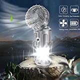 6 en 1 portátil al aire libre LED linterna de camping con ventilador