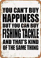 なまけ者雑貨屋 アメリカン 雑貨 ナンバープレート You Can't Buy Happiness But You Can Buy Fishing Tackle ヴィンテージ風 ライセンスプレート メタルプレート ブリキ 看板 アンティーク レトロ