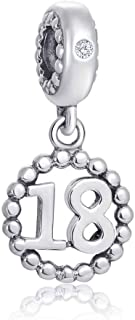 Choruslove Milestones 18 Number Charms for Pandora Charm Bracelet, 925 Sterling Silver Beads Inlay CZ Birthstone Dangle 18th Birthday Annivesary Pendant, Gifts for Daughter/Son and Boys/Girls
