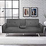 Suwikeke Frabic Convertible Futon Sofa Bed 2 Cupholders with Armrest & Fold Up & Down Recliner Couch with Cup Holders, Dark Gray
