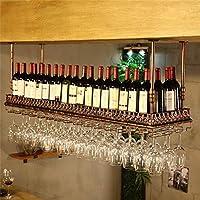 AERVEAL 調節可能な金属天井に取り付けられたハンギングワインボトルホルダー2層の壁に取り付けられたワインとガラスラックスタイルのバー、レストラン、キッチンラック,#1,150Cm(59.1インチ)