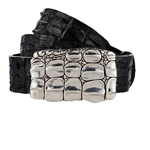Gut Instinkt - Cintura in vera pelle di coccodrillo artigianale di lusso - JARRAKAN Nero 90 cm