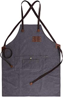 Studio Craftsman Apron Retro Waterproof and Oil Resistant Tool Apron Wear Carpenter Painter Canvas Apron (Color : Gray)