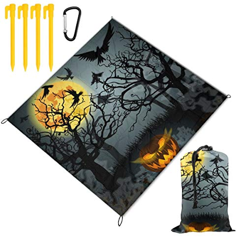 Fantastic Prices! Picnic Blanket 59 X 57 in Halloween Illustration with Full Moon Foldable Waterproo...