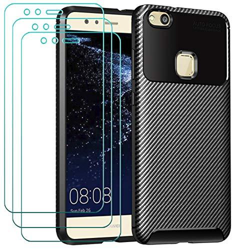 ivoler Funda para Huawei P10 Lite, con 3 Unidades Cristal Templado, Fibra de Carbono Carcasa Protectora Antigolpes Negro, Suave TPU Silicona Caso Anti-Choques Case Cover