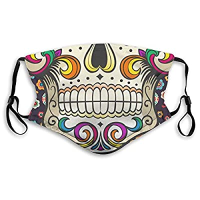 HOTBABYS Sugar Skull Reusable Activated Carbon Filter Face Covering with Replaceable Filter for Men Women M