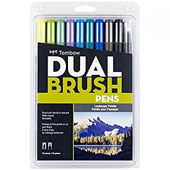 Tombow 56169 Dual Brush Pen Art Markers Landscape 10-Pack Blendable Brush and Fine Tip Markers