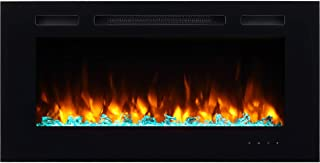 PuraFlame Alice 40 Inches Recessed Electric Fireplace, Wall Mounted for 2 X 6 Stud, Log..