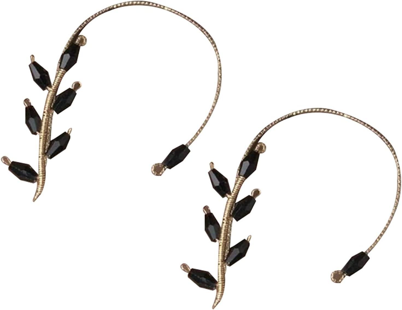 GDSAFS Fashion Beading Ear Hook, Vintage Ear Cuff Earrings Non Piercing Ear Wrap Crawler Hook Earrings for Women (Black 2PCS)