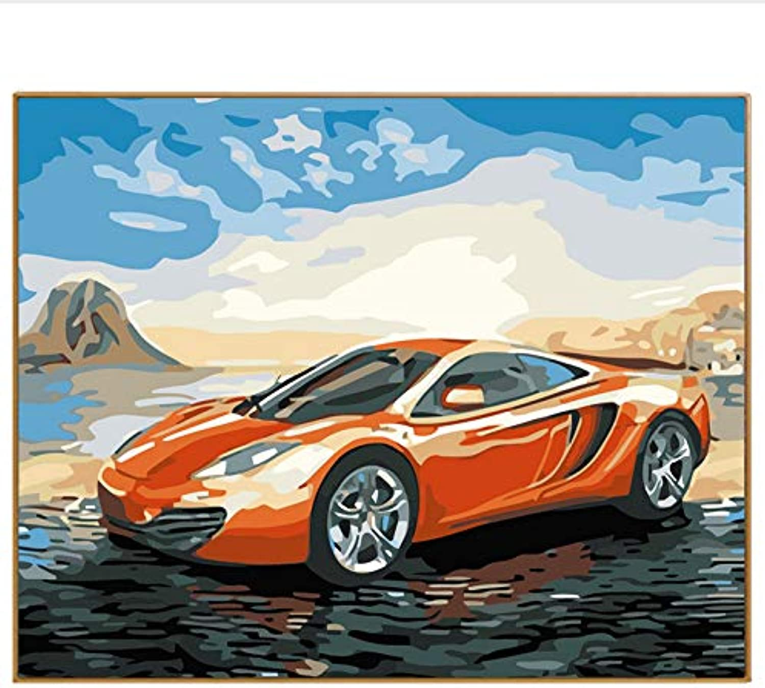DIY Abstract Picture Sports Car Oil Painting By Numbers Hand Drawing On Canvas Digital coloring By Numbers Home Decor Wall, Framed, 50x60cm