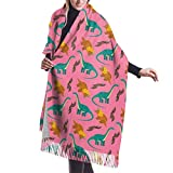 Tengyuntong Bufanda de mantón Mujer Chales para, Patrón de dinosaurios rosa Cómoda bufanda de chal bufanda de invierno de cachemir para mujeres hombres