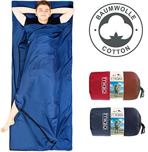 Miqio® 2in1 Baumwoll-Hüttenschlafsack mit durchgängigem Reißverschluss (Koppelbar): Leichter Komfort Reiseschlafsack und XL Reisedecke in Einem - Sommer Schlafsack Innenschlafsack (Blau,Rechts)