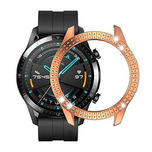 Bcyhls For Huawei gt2 46mm PC Doble Row Diamond Funda smartwatch Protective (Color : Rose Gold)